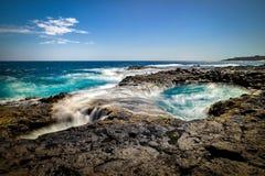 浇灌漩涡, Bufadero de la Garita,特尔德,大加那利岛,西班牙 库存照片