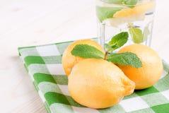 浇灌用柠檬和薄菏在一块玻璃在台式viewew 库存照片
