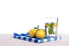 浇灌用柠檬和薄菏在一块玻璃在i桌侧视图  免版税图库摄影