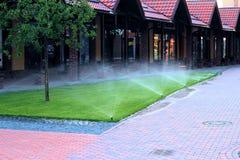 浇灌草坪的灌溉系统 免版税库存照片