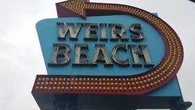 测流堰海滩标志 免版税图库摄影