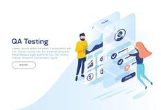 测试一种流动应用的接口和实用性的人们 等量例证 着陆页概念 向量例证