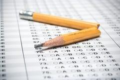 测试与残破的铅笔 免版税库存图片
