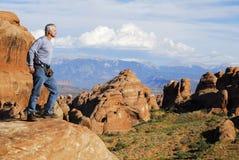 测试国家公园美国犹他的曲拱 库存照片