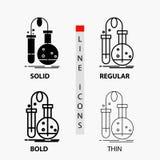 测试,化学,烧瓶,实验室,在稀薄,规则,大胆的线和纵的沟纹样式的科学象 r 库存例证