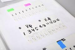 测试结果(关于病毒的研究的数据) 库存图片