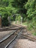 测量仪缩小的铁路轨道 库存图片