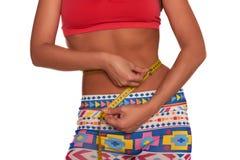 测量她的有软的米的女孩腰部被隔绝 库存图片