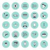 测量深度服务传染媒介平的线象 议院卫生间设备,龙头,洗手间,管道,洗衣机,洗碗机 皇族释放例证