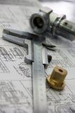 测量的工具和制件 免版税库存图片
