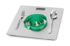测量的磁带和重量标度 免版税库存照片