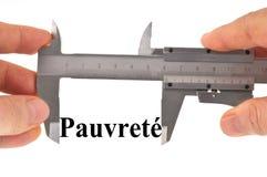 测量的贫穷用与游标卡尺的法语 库存图片