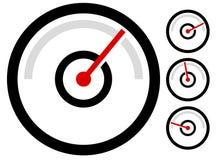测量米标志,象在4个阶段 压力表,测路器, 免版税图库摄影