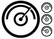 测量米标志,象在4个阶段 压力表,测路器, 免版税库存图片