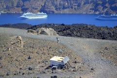 测量设备火山运动,卡美尼岛 库存图片