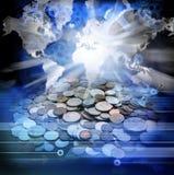 经济世界地图金钱 免版税图库摄影