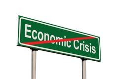 经济危机文本绿色路标,被隔绝的路旁标志特写镜头,大详细的特写镜头的末端 免版税库存照片