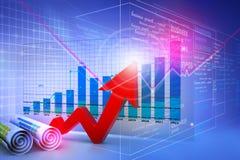 经济图和图表 免版税库存照片