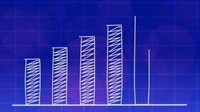 经济增长图表图蓝色4K 库存例证