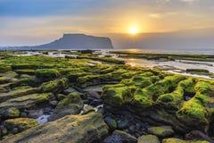 济州岛韩国,日出风景 免版税库存照片