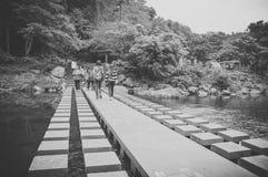 济州海岛,韩国- 10月12 :著名Chunjeyun瀑布 免版税库存照片