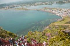 济州海岛,韩国- 10月12 :SONGSAN ILCHULBONG在济州, 免版税库存图片