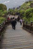 济州海岛- 2016年10月25日:长的楼梯击倒小山, Jej 库存图片