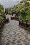济州海岛- 2016年10月25日:长的楼梯击倒小山, Jej 图库摄影