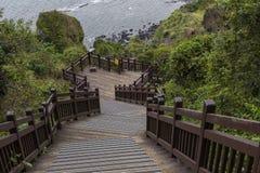 济州海岛- 2016年10月25日:长的楼梯击倒小山, Jej 免版税图库摄影