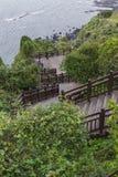 济州海岛- 2016年10月25日:长的楼梯击倒小山, Jej 免版税库存图片