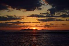 从济州的日落风景 图库摄影