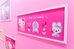 济州,韩国9月27,2016 :Hello Kitty海岛博物馆,咖啡馆在济州 库存图片