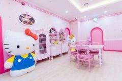 济州,韩国9月27,2016 :Hello Kitty海岛博物馆,咖啡馆在济州 图库摄影