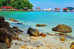 浏览到美丽的热带海岛 库存照片