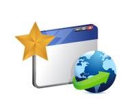 浏览器地球和星。例证 免版税库存照片