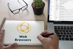 浏览器http人用途计算机网浏览器网上网络骗局 库存照片