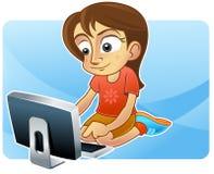 浏览少年女孩的互联网 皇族释放例证