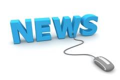 浏览新闻-灰色鼠标 免版税图库摄影