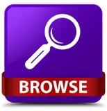 浏览紫色方形的按钮红色丝带在中部 库存照片