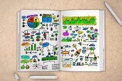 浏览详述的企业动画片任意感觉其他计划系列对工作 库存图片