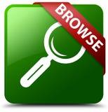浏览绿色方形的按钮 免版税库存图片