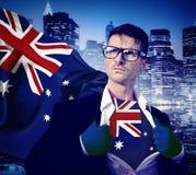 浓缩商人超级英雄国家澳大利亚旗子文化的力量 图库摄影