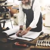 浓缩木匠Craftmanship木匠业工艺品木的车间 免版税图库摄影