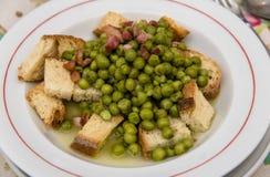 浓豌豆汤用油煎方型小面包片和烟肉 库存照片