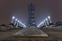 浙江全球性中心在晚上,杭州,中国 库存图片