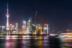 浦东地标在晚上 免版税图库摄影