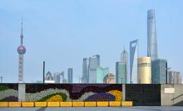 浦东新的地区地平线在上海,中国 免版税图库摄影