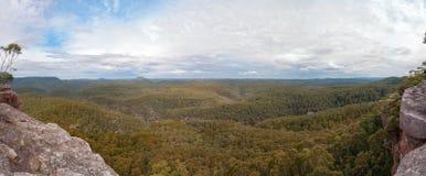 浩大的山森林空中风景全景  库存图片