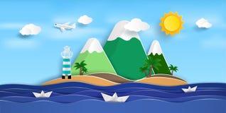 浩大的海视图在夏天 并且自然美人 皇族释放例证