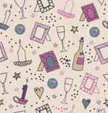 浪漫与照片框架、蜡烛、心脏、星、觚和瓶的葡萄酒无缝的背景藤 免版税库存图片